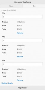 jQuery Mobile and ASP.NET Web Forms - Cart